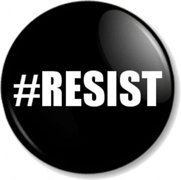 #RESIST hashtag Pinback Button Badge Political Protest Equal Rights Activist - Black